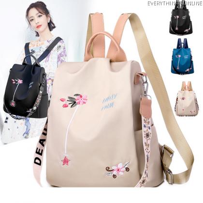 EVON PREMIUM BP031 OXFORD CLOTHES FLOWER BACKPACK CARRY BAG MODERN FASHION SIMPLE ELEGANT WATERPROOF SHOULDER BAG