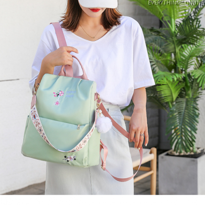 EVON PREMIUM BP032 PUFFER BALL OXFORD CLOTHES FLOWER BACKPACK CARRY BAG MODERN FASHION ELEGANT WATERPROOF SHOULDER BAG
